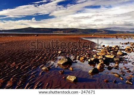 fiery beach - stock photo