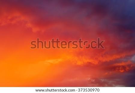 Fiery colorful sunset sky. Beautiful sky. - stock photo