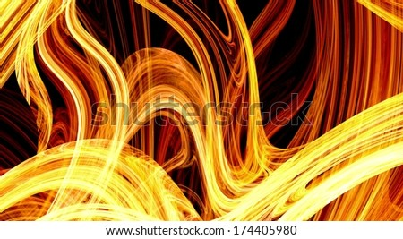 Fiery extravaganza. Golden fractal abstract background