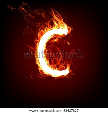Fiery font for hot flame design. Letter C