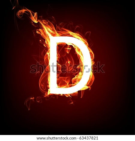 Fiery font for hot flame design. Letter D - stock photo