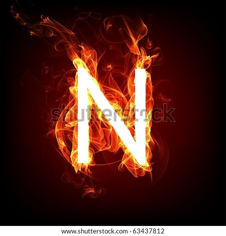 Fiery font for hot flame design. Letter N - stock photo