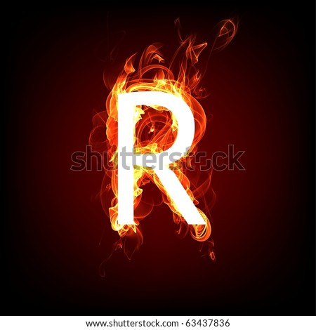 Fiery font for hot flame design. Letter R - stock photo