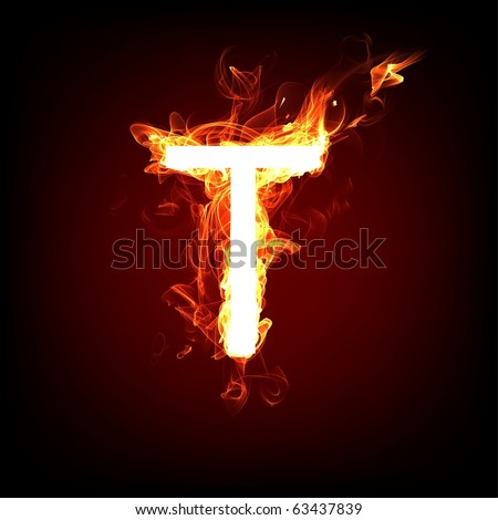 Fiery font for hot flame design. Letter T - stock photo