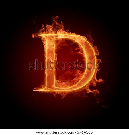 Fiery font. Letter D - stock photo