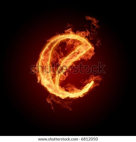 Fiery font. Letter E - stock photo