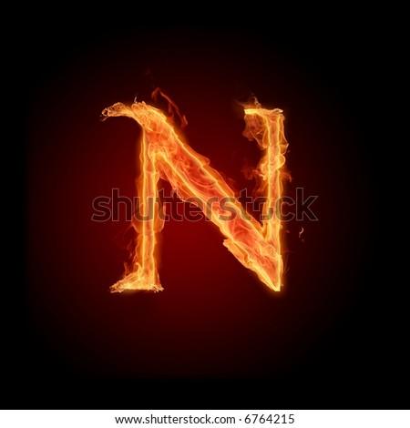 Fiery font. Letter N - stock photo