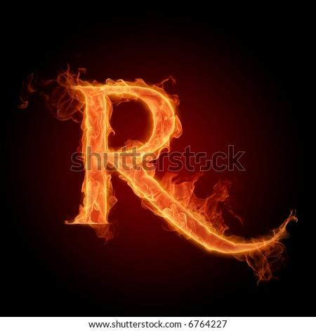 Fiery font. Letter R - stock photo
