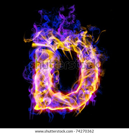 Fiery font with rose and blue. Letter D