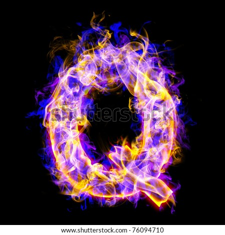 Fiery font with rose and blue. letter Q