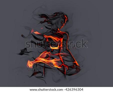 Fiery girl. 3D illustration. - stock photo