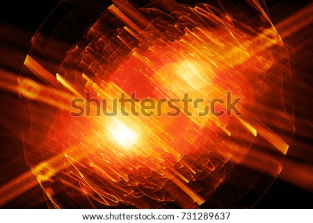 Fiery glowing quantum in excited state bursting light, computer generated abstract background, 3D rendering