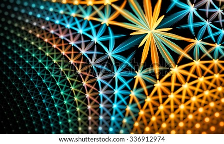 Fiery glowing star grid fractal pattern, computer generated abstract background. Fractal art pattern for wallpaper, interior, album, flyer cover, poster, booklet - stock photo