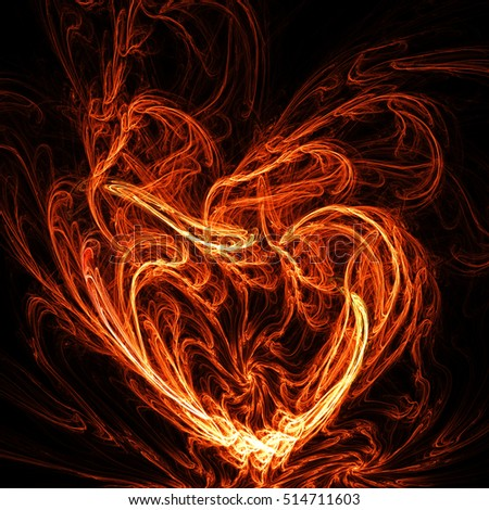 Fiery heart. Symbol of love on the black background