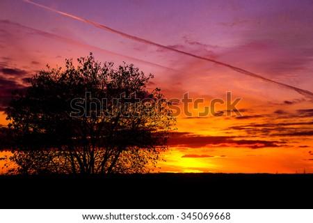 Fiery Heaven Evening Cloudscape  - stock photo