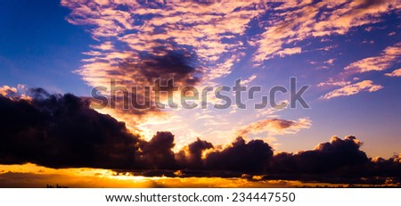 Fiery Heaven Setting Sun  - stock photo