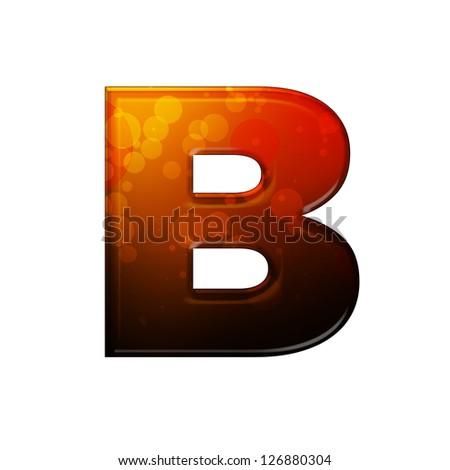 Fiery letter B - stock photo
