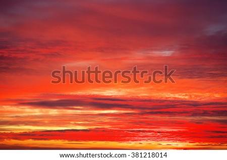 Fiery orange sunset sky. Apocalyptic sunset sky - stock photo