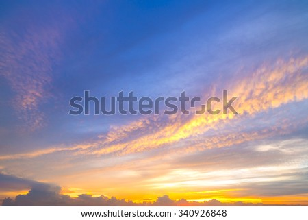 Fiery orange sunset sky. Beautiful sky - stock photo