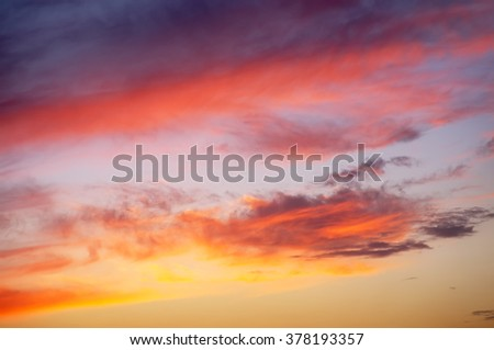 Fiery orange sunset sky. Beautiful sky.