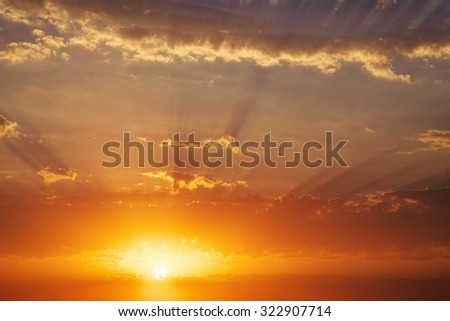 Fiery orange sunset sky. Beautiful sky. Sky Background - stock photo