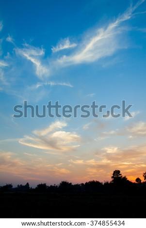 Fiery orange sunset sky. Beautiful sky. soft focus - stock photo