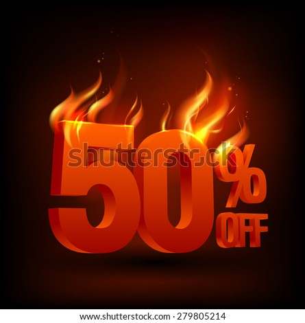 Fiery 50 percent off, sale background, rasterized version. - stock photo