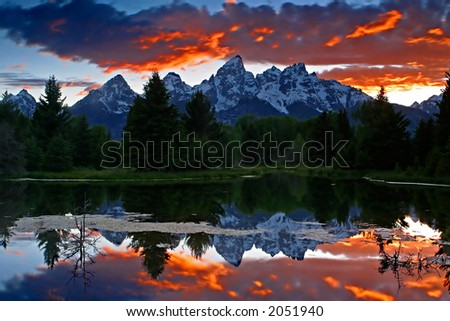Fiery Sunset in Grand Teton National Park
