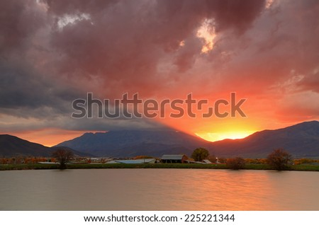 Fiery sunset in Heber Valley, Utah, USA. - stock photo