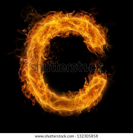 Fiery uppercase letter C - stock photoUppercase Letter C
