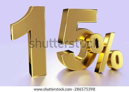 fifteen, as a golden three-dimensional figure with percent sign