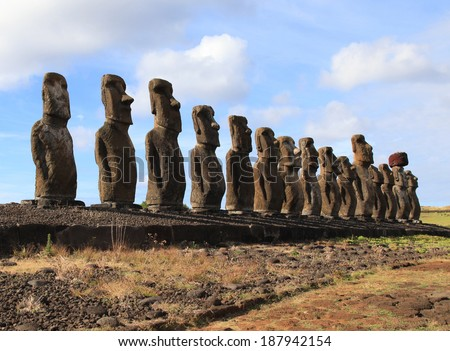 Fifteen Moai statues on Easter Island in the Pacific Ocean - stock photo