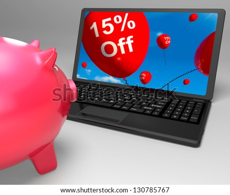 Fifteen Percent Off On Laptop Showing Price Reductions And Promotions