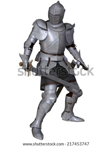 Fifteenth Century late Medieval Knight in Northern Italian Milanese Armour with sword, standing in a fighting pose, 3d digitally rendered illustration