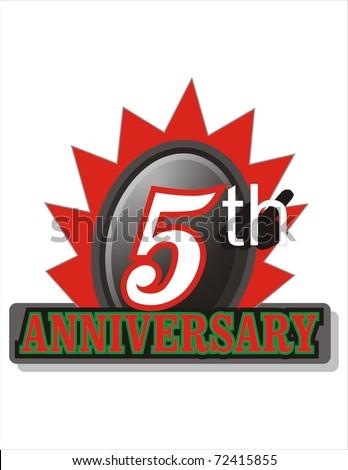 Fifth Anniversary sticker - stock photo