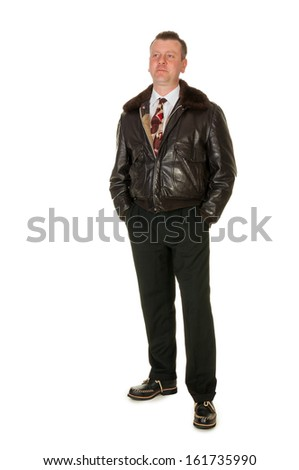 Fifties retro man in leather bomber jacket, on white