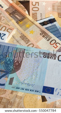 Fifty and Twenty Euro banknotes currency of the European Union