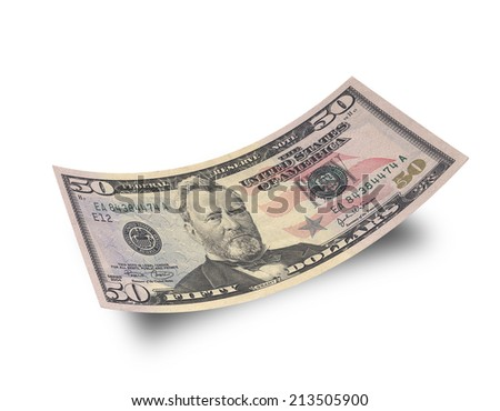 Fifty dollar banknote isolated on white background  - stock photo