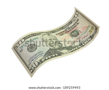 fifty dollar banknote on white background