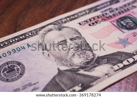 fifty dollar bills front side. close up, Portrait of U.S. statesman, inventor, and diplomat Ulysses S. Grant as he looks on fifty dollar bill obverse , face bill of fifty dollars - stock photo