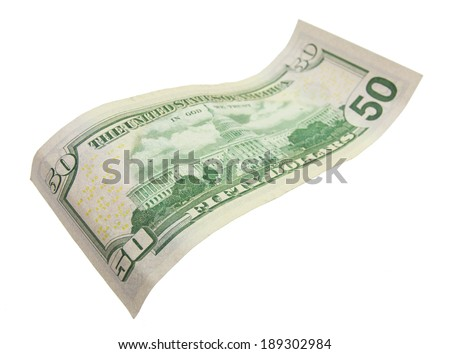Fifty dollar bills isolated on white - stock photo