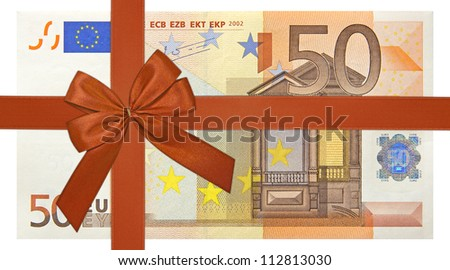 fifty euro bank note with red ribbon band - stock photo