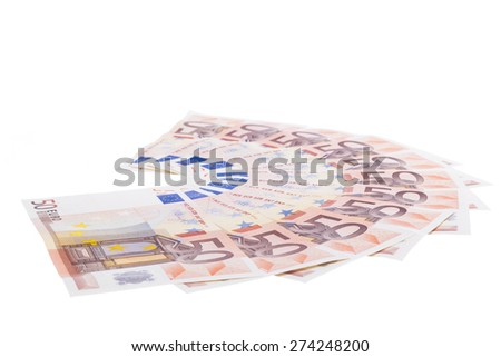 Fifty euro banknote fan isolated on white background - stock photo