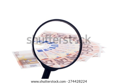 Fifty euro banknote fan through magnifying glass isolated on white background - stock photo