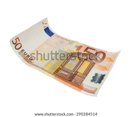 fifty euro banknote,isolated on white with clipping path - stock photo