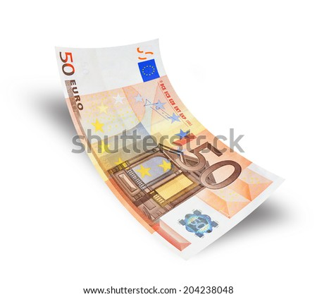 fifty euro banknote on white background - stock photo