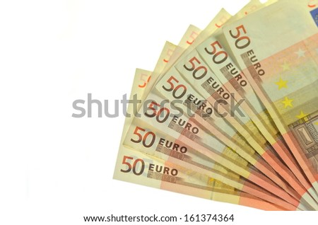 fifty euro banknotes - stock photo