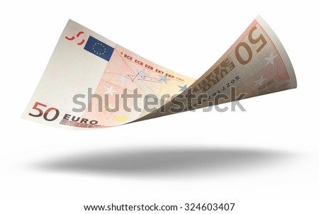 Fifty Euro banknotes close-up (isolated on white and clipping path)