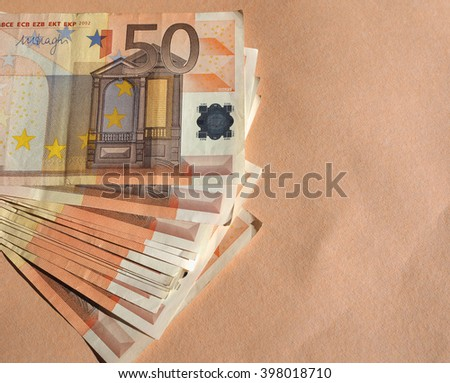 Fifty Euro banknotes currency of the European Union