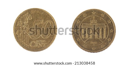 Fifty euro cent on white background, front and back - stock photo
